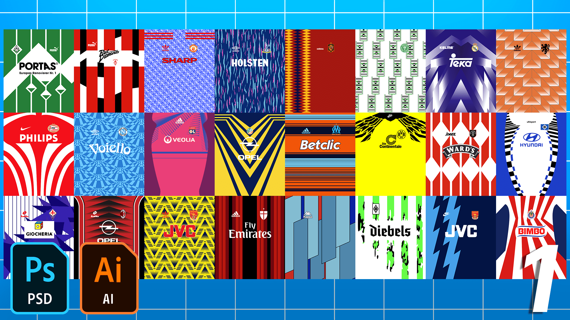 Football/Soccer Classic Jersey Patterns Pack – Part 1