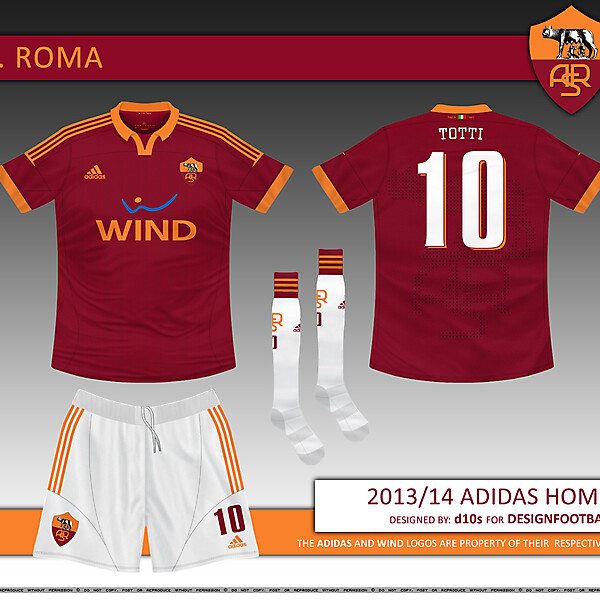 AS Roma 2013/14 Adidas Home Kit