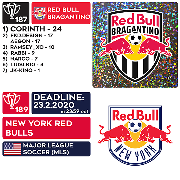 CRCW 187 RESULTS - RED BULL BRAGANTINO  |  CRCW 189 - NEW YORK RED BULLS