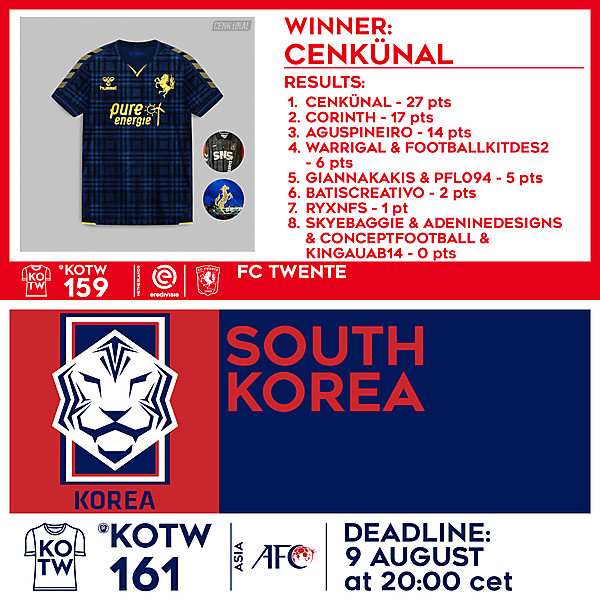 KOTW 159 RESULTS - FC TWENTE  |  KOTW 161 - SOUTH KOREA