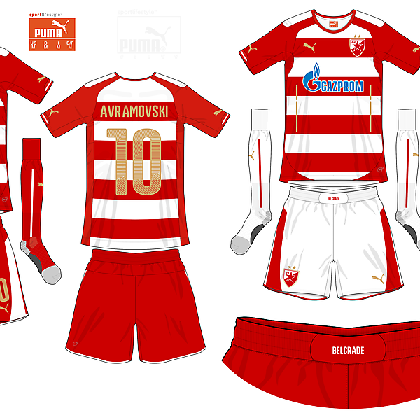 Red Star Belgrade Home - Rotate the Stripes in 2015-16 Competition