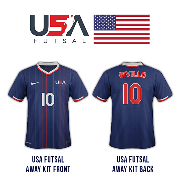 USA futsal away kit (front and back)