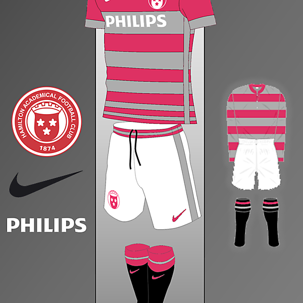Hamilton Academical Nike kit Inspired by 1908-1913 Home Kit