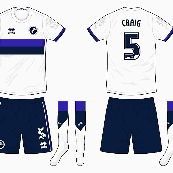 16/17 Millwall Away Kit - Errea