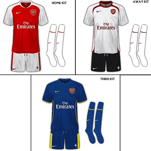 Arsenal FC Full Set Of Fantasy Kits