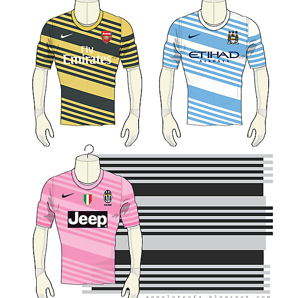 Arsenal - Man City - Juventus Nike 2014 Away shirts