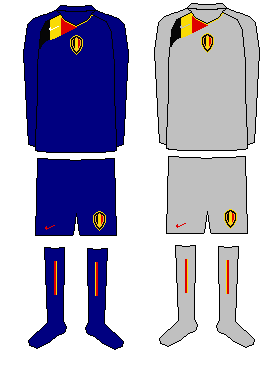 Belgium Home/Away and Goalkeeper kits.