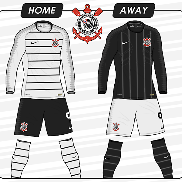 Corinthians 2018/19 Fantasy Home and Away Kits (based on Nike's newest template)
