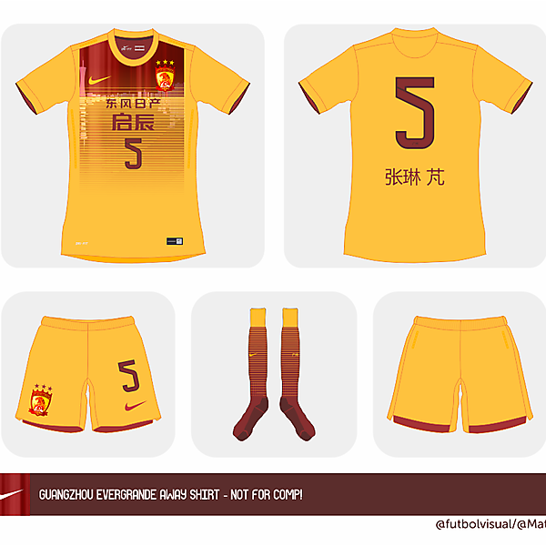 Guangzhou Evergrande away kit version 2 (NOT FOR COMP!)