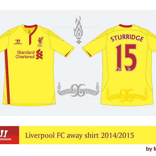 Liverpool Warrior away shirt 2014/2015