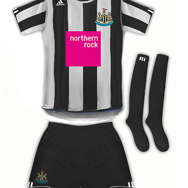 Newcastle United adidas home kit with Northern Rock