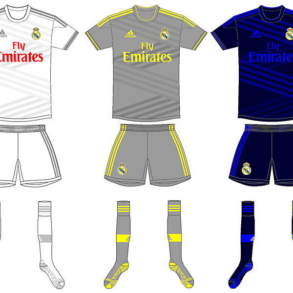 Real Madrid home, away and third kits