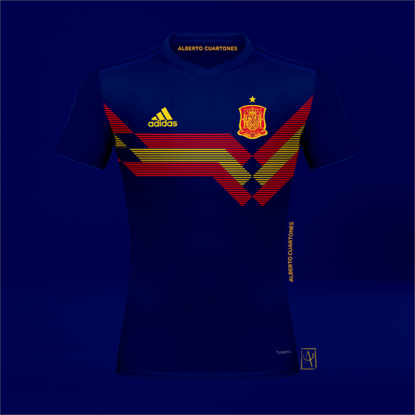 Spain adidas 70th anniversary Concept Blue Jersey