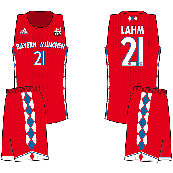 Bayern Home (If Soccer teams had Basketball Jerseys)