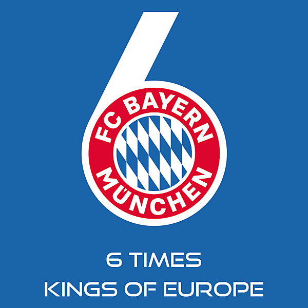 FC Bayern Munich 6 times kings of Europe celebration logo.