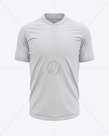 One Button Placket Collar Football Jersey Mockup - Front View