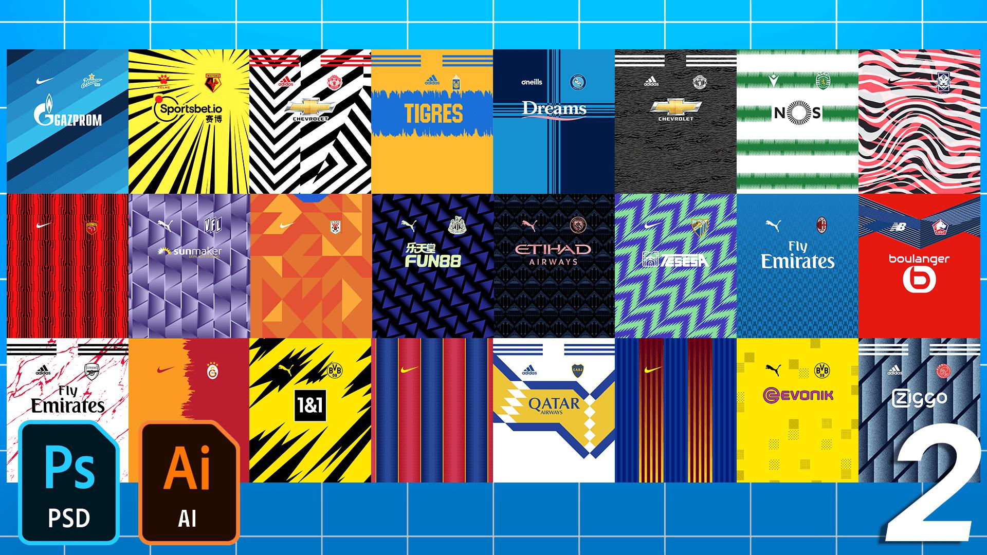 Football/Soccer Jersey Patterns Pack 2020-2021 – Part 2