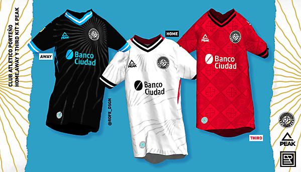 Club Atlético Porteño | Home, Away & Third Kits x Peak By @rofe_dsgn