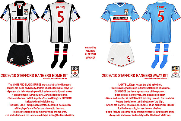 Stafford Rangers Kits with Notes