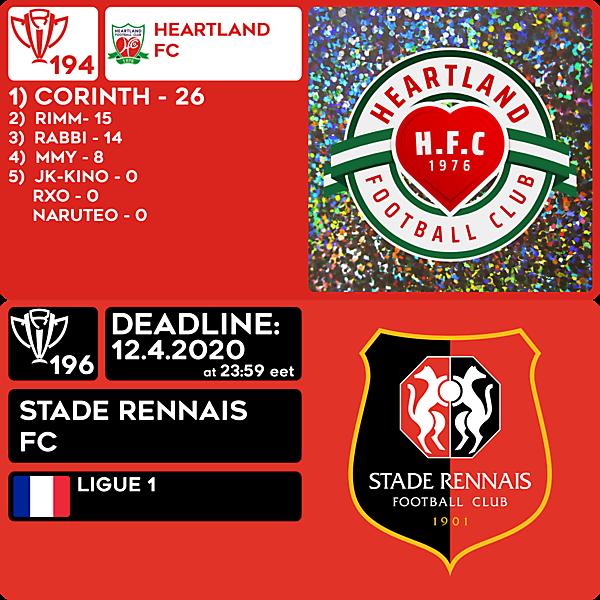 CRCW 194 RESULTS - HEARTLAND FC     CRCW 196 - STADE RENNAIS FC