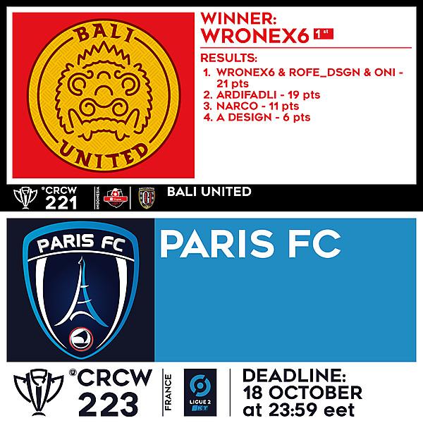 CRCW 221 RESULTS - BALI UNITED  |  CRCW 223 - PARIS FC