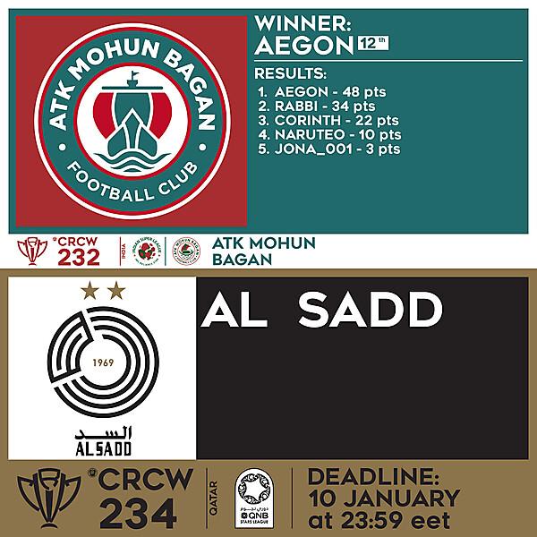 CRCW 232 RESULTS - ATK MOHUN BAGAN     CRCW 234 - AL SADD