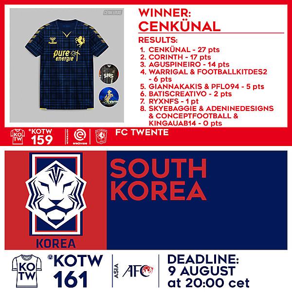 KOTW 159 RESULTS - FC TWENTE  |  KOTW 161 - SOUTH KOREA