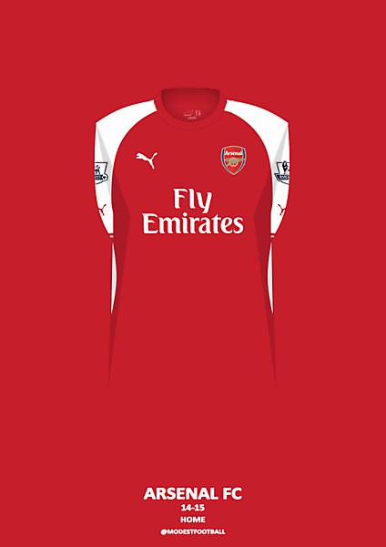 Arsenal home kit 14-15.