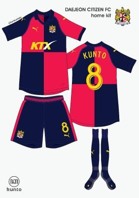 Daejeon Citizen FC home kit by @kunkuntoto