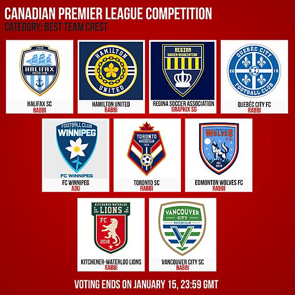 Canadian Premier League - Best Team Crest Voting