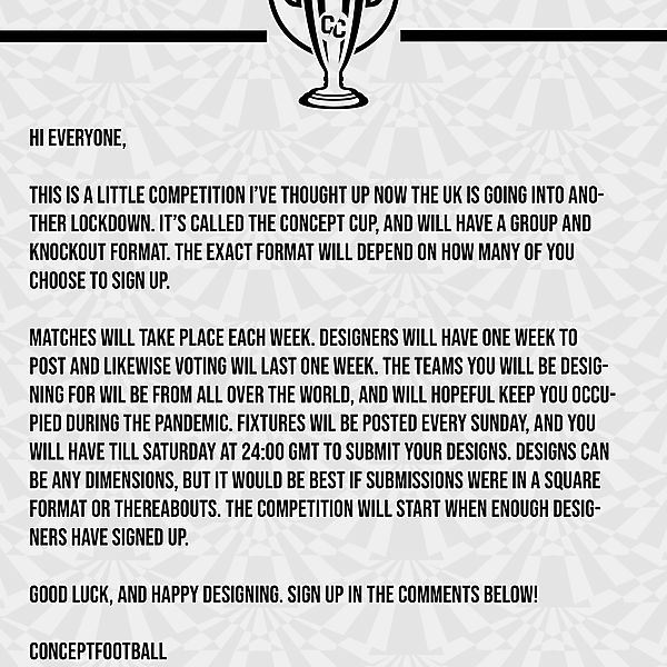 Concept Cup sign up