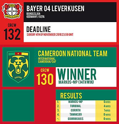 CRCW 132 | BAYER 04 LEVERKUSEN | CRCW 130 | RESULTS