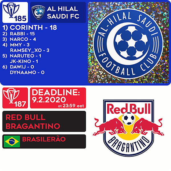 CRCW 185 RESULTS - AL HILAL SFC  |  CRCW 187 - RED BULL BRAGANTINO