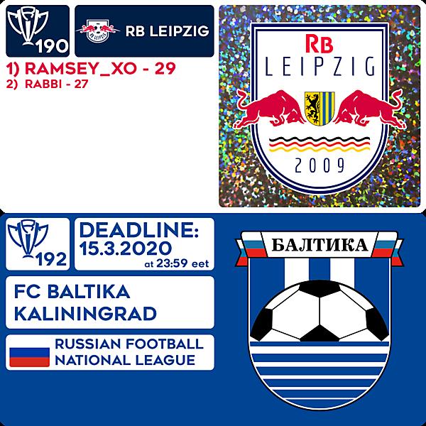 CRCW 190 RESULTS - RB LEIPZIG  |  CRCW 192 - FC BALTIKA KALININGRAD