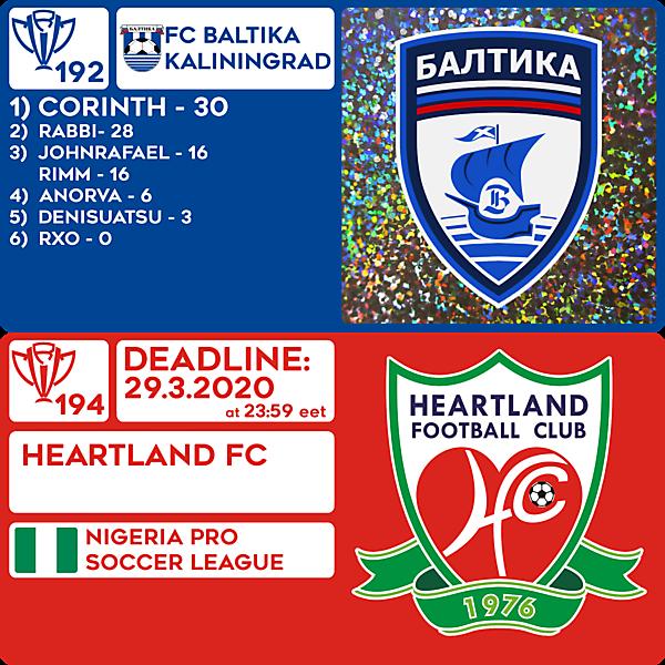 CRCW 192 RESULTS - FC BALTIKA KALININGRAD     CRCW 194 - HEARTLAND FC