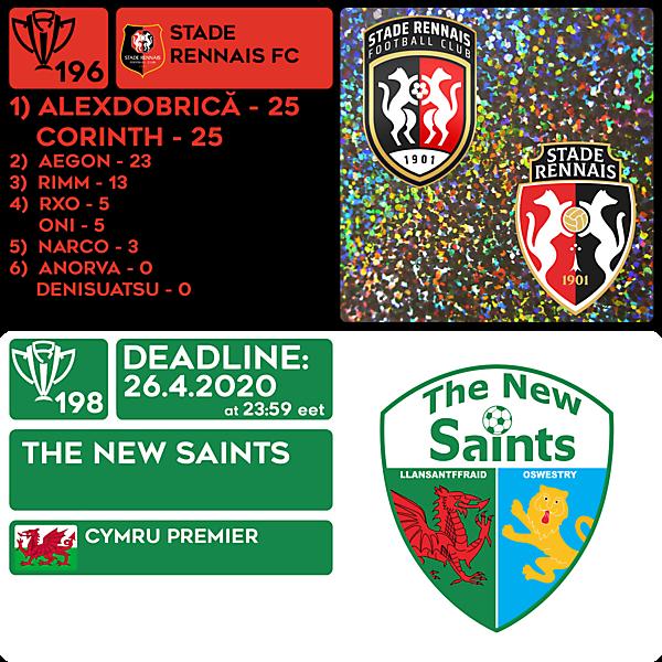 CRCW 196 RESULTS - STADE RENNAIS  |  CRCW 198 - THE NEW SAINTS