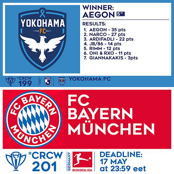 CRCW 199 RESULTS - YOKOHAMA FC  |  CRCW 201 - FC BAYERN MÜNCHEN