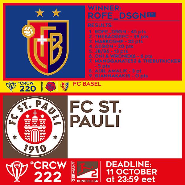 CRCW 220 RESULTS - FC BASEL     CRCW 222 - FC ST. PAULI