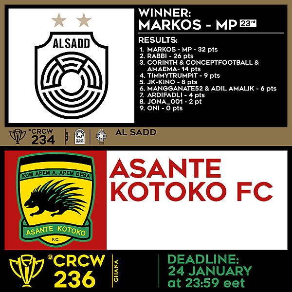 CRCW 234 RESULTS - AL SADD     CRCW 236 - ASANTE KOTOKO FC