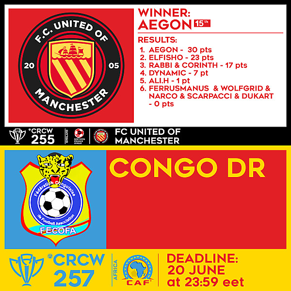 CRCW 255 - RESULTS - FC UNITED OF MANCHESTER  |  CRCW 257 - CONGO DR