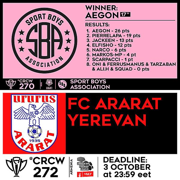 CRCW 270 - RESULTS - SPORT BOYS ASSOCIATION     CRCW 272 - FC ARARAT YEREVAN
