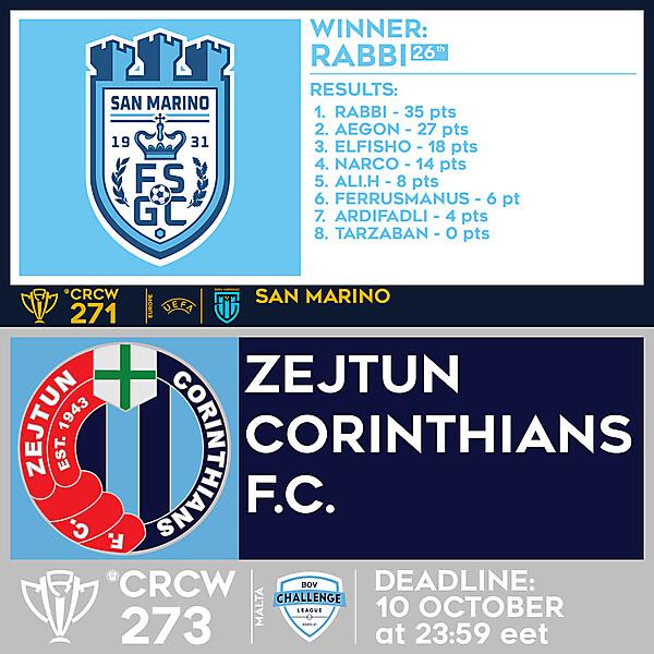 CRCW 271 - RESULTS - SAN MARINO     CRCW 273 -  ZEJTUN CORINTHIANS F.C.