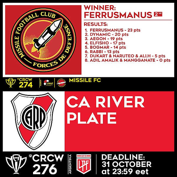 CRCW 274 - RESULTS - MISSILE FC     CRCW 276 - CA RIVER PLATE