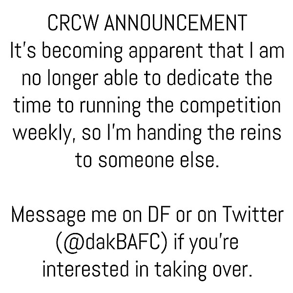 CRCW Announcement
