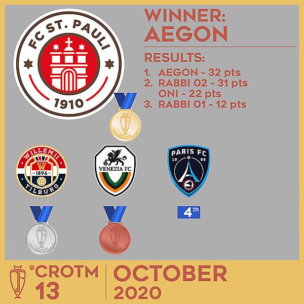 CROTM 13 RESULTS - OCTOBER