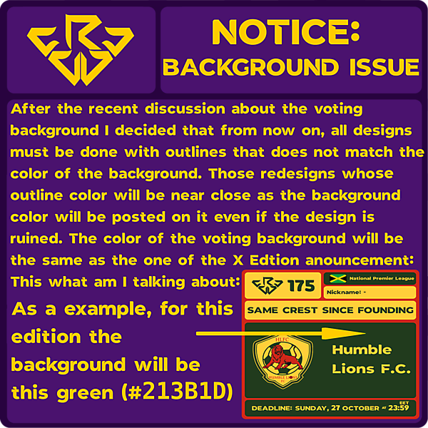 NOTICE: BACKGROUND ISSUE