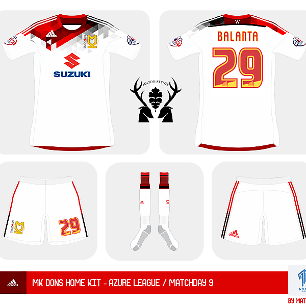 MK Dons home kit - Azure League - Matchday 9
