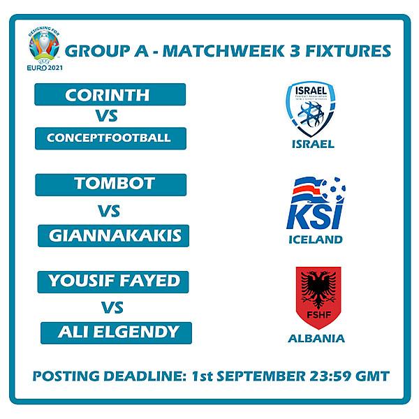 Group A Matchweek 3 Fixtures