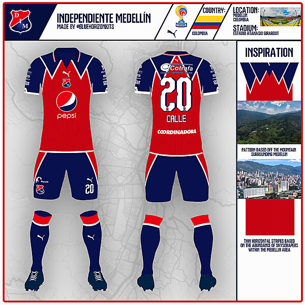 Independiente Medellín Home Kit | DFSL2 Round 5 | made by @bluehorizonkits