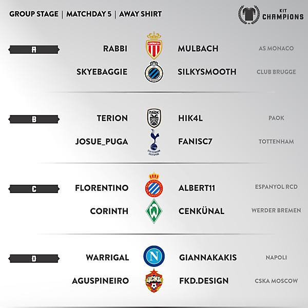 Kit Champions - matchday 5